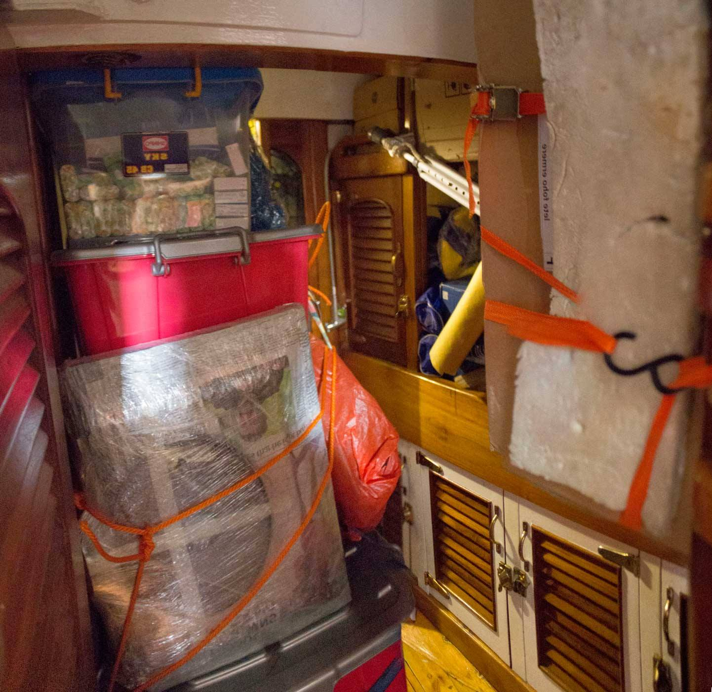 The port and starboard cabins are stuffed. All the toilets are packed also.