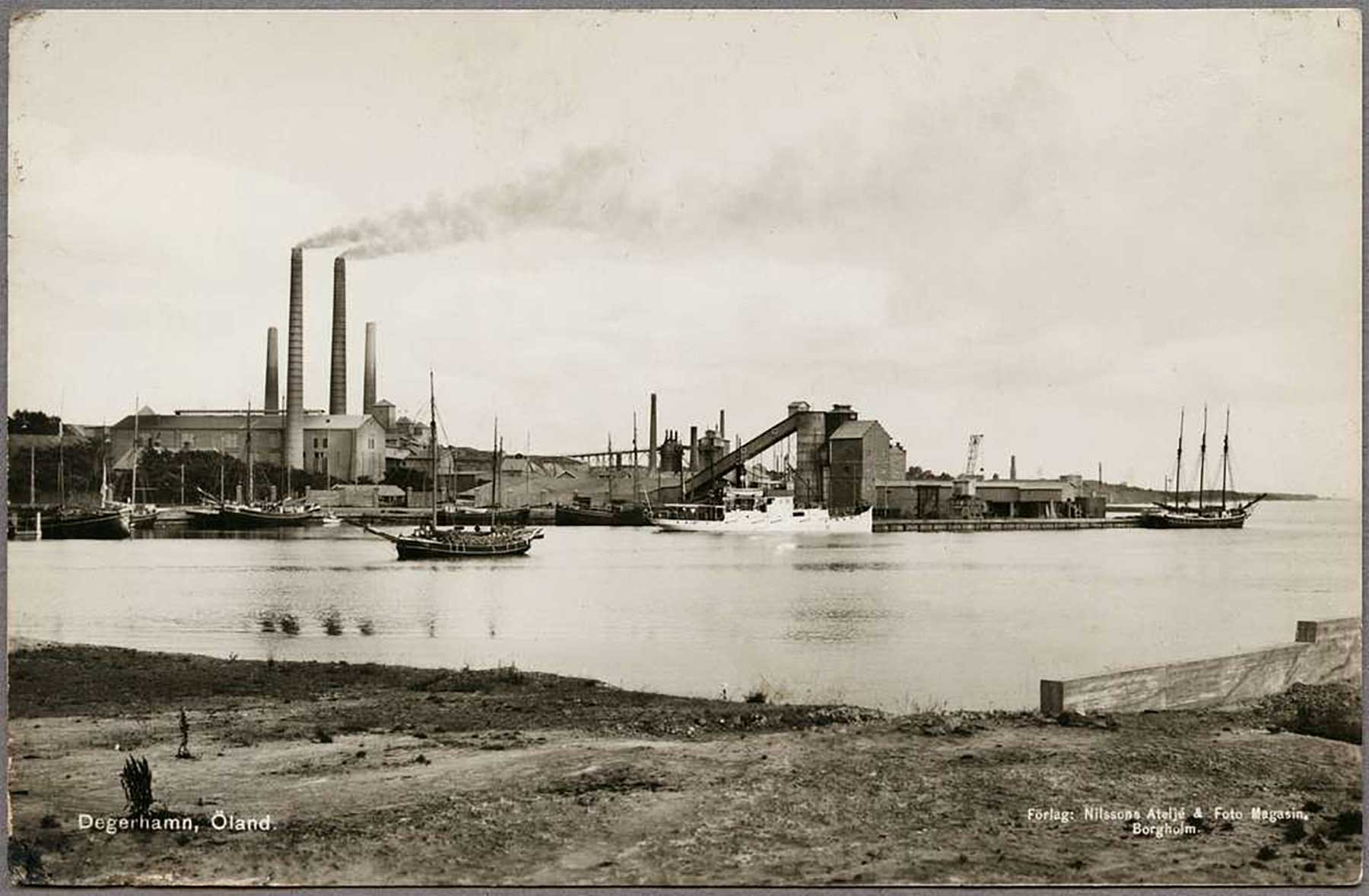 Ölands Cementfabrik in Degerport - 1950. One of the first cement factories in Sweden, Ölands Cement AB began in 1886.